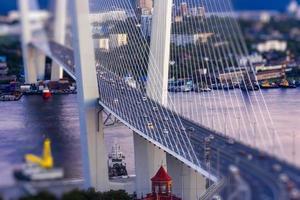 Urban landscape with a view of the Golden Bridge. Vladivostok, Russia photo