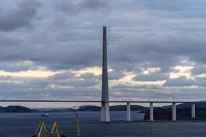 Vladivostok, Russia. Seascape with a view of the Russian Bridge photo