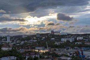 Vladivostok, Russia. Urban landscape at dawn. photo