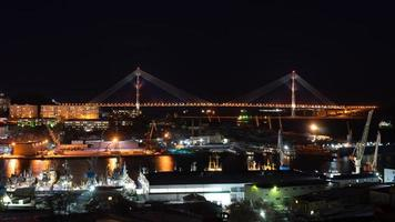 Night landscape with a view of the Russian Bridge. photo