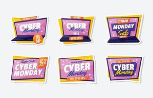 Cyber Monday Big Sale Sticker vector
