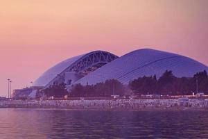 Seascape with views of the beach and stadium in Sochi, Russia photo