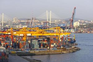 Industrial landscape with a view of the port in Vladivostok, Russia photo