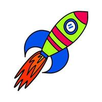 Simple Rocket Cartoon with Fire Blast vector