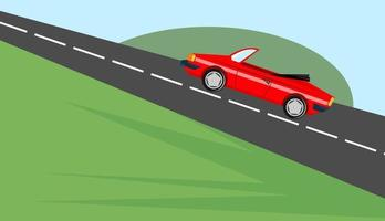 Red Generic Sports Car Driving up a Steep Hill vector