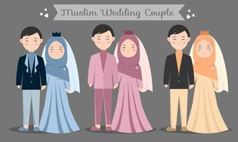 cute muslim couple character set with dresses for wedding invitation card. Vector illustration in cartoon of a couple in love