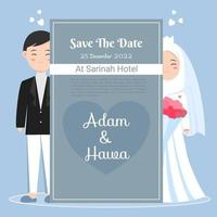 cute muslim couple for wedding invitation in black suit and white hijab dress. save the date vector illustration