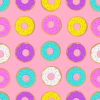 Seamless pattern with donuts on a pink background. Cartoon cute style. Vector illustration.