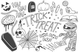conjunto de garabatos de halloween, dibujos de truco o trato vector