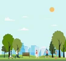 People in public park with city background vector illustration.Nature park with people walking in summer.Lifestyle in nature scene