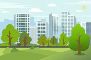 Landscape park trees with cityscape.Public park in urban city.Building in green garden.Spring scene park and tower.City park with bench and downtown skyscrapers vector