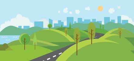 Public park with river and road to city.Vector illustration.Cartoon nature scene with hills and trees.Nature landscape with urban with sky background vector