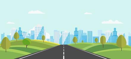 Public park with main street to city and sky background.Beautiful nature scene with town and hill.Vector illustration.Road with urban.cityscape and nature scene vector