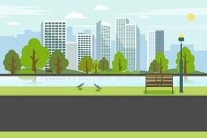 Public park with bench river city.Road on park with river and cityscape.Nature spring scene with city vector