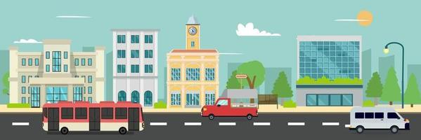 City street and company buildings , minibus and van on street vector illustration, a flat style design.Business buildings and public bus stop in urban.