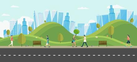 People with public park in city.Beautiful scene park and man walking.People leisure activities in park.Lifestyle relaxed in town vector illustration.Urban scene with nature.