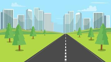 Street nature landscape with modern city backgroud vector illustration.Urban town cityscape and nature road.Nature path to downtown