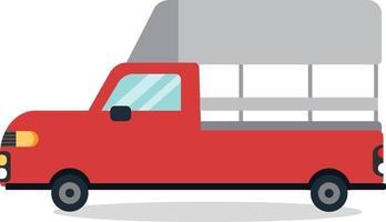 diseño de dibujos animados de mini camión rojo tailandés plano mínimo con vector de fondo blanco.Diseño plano de camión rojo.