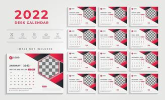 Creative Modern Red 2022 Desk Calendar Design Template vector