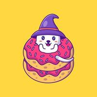 cute witch cat in donuts happy halloween Cartoon Illustration vector