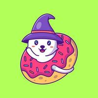 Cute witch cat in donuts happy halloween cartoon illustrations vector