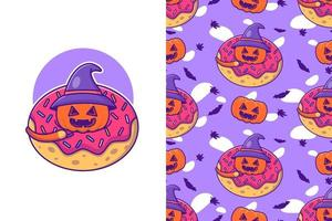 Cute Pumpkin in Donuts halloween with seamless pattern vector