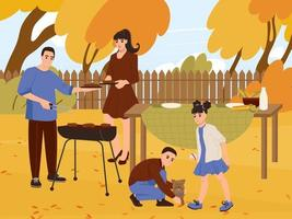 Young family at a picnic in the backyard in autumn. Husband and wife with children are preparing barbecue and playing with the dog outdoors. Flat vector illustration