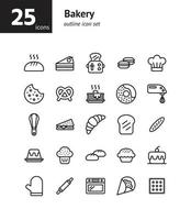 Bakery outline icon set. vector
