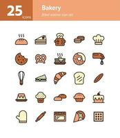 Bakery filled outline icon set. vector