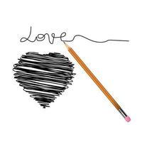 Vector realistic pencil with scribbled heart. Illustration.