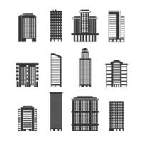 Monochrome illustrations urban buildings business offices skyscrapers vector