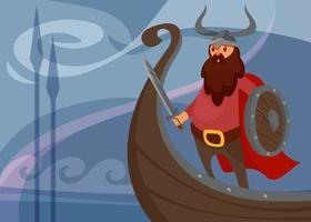 Viking banner with warrior on ship. vector