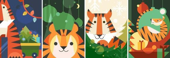Different Year of the Tiger posters. vector
