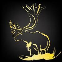 Elk, Moose Deer Wildlife Stencils ,Golden Brush paint stroke over black background vector