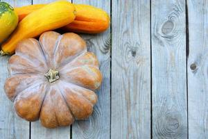 Huge Mature pumpkin with different vegetables close-up. The view from the top. Horizontal wooden background with space for text photo