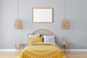 Frame mockup bedroom in style boho - 4 photo