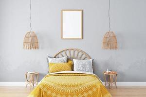 Frame mockup bedroom in style boho - 3 photo