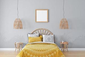 Bedroom mockup in style boho -1 photo