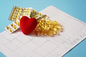 Las cápsulas de omega-3 se encuentran en un cardiograma junto a un corazón rojo. aceite de pescado en tabletas. apoyo a la salud y tratamiento cardíaco. foto
