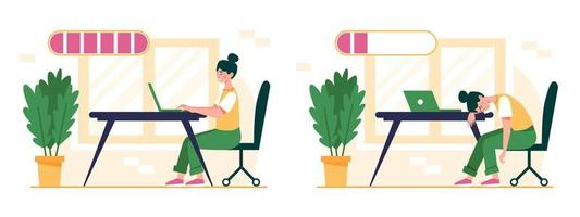 Set of happy and exhausted female office worker with full and low battery charge indicator. Burnout concept with energetic and tired woman and life energy indication. Flat vector illustration.