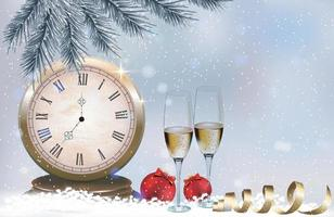 Glasses with champagne, clock close to midnight and Christmas balls vector