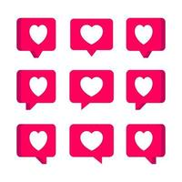 Group of heart speech bubbles with various shapes. Set of love emoji for social media. Simple trendy cute cartoon vector icon illustration. Flat style graphic element for happy expression concept.
