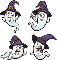 Halloween cartoon ghosts vector