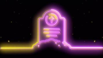 neón púrpura, tumba amarilla de halloween, emoji, render 3d, foto