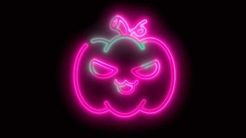 calabaza de halloween rosa neón, emoji, render 3d, foto