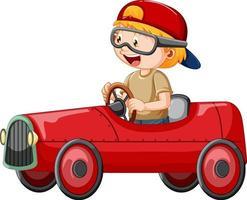 Un niño conduciendo un mini coche de juguete sobre fondo blanco. vector