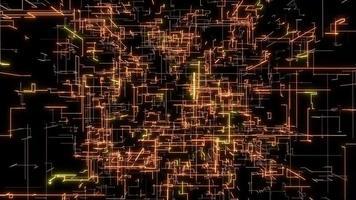 orange stroke lines cyber space Background loop Animation video