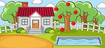escena horizontal con una mini casa y piscina. vector