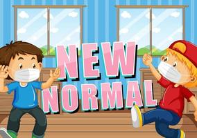 New normal with two kids wearing face masks vector