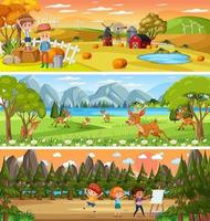 Set of different nature landscape at daytime scene with cartoon character vector